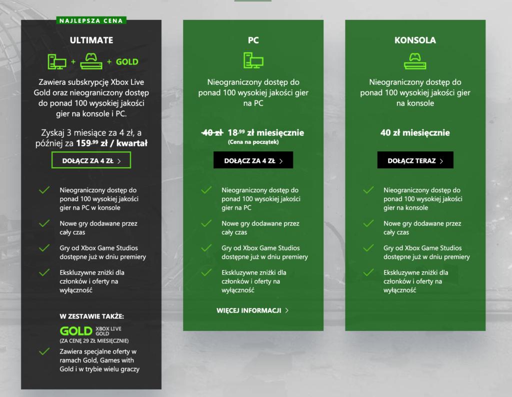 Xbox Game Pass cena